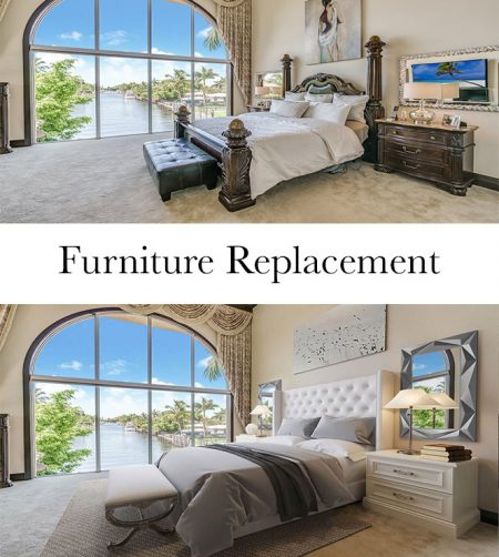 Furniture replacement for virtual staging